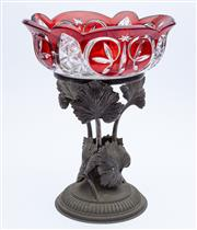 Sale 8414A - Lot 46 - A Bohemian ruby glass comport, on a metal base with acanthus leaf supports, H 32cm
