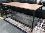 Sale 8777 - Lot 1018 - Modern Two Tier Coffee Table with Timber Top on Metal Base