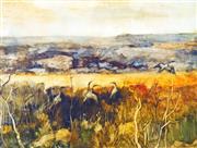 Sale 8787A - Lot 5056 - William Boissevain (1927 - ) - Landscape with Brolgas, 1970 53 x 70cm