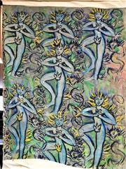 Sale 8797 - Lot 2065 - Simon Ubud - Ceremonial Dancers, mixed media on canvas, 214 x 150cm