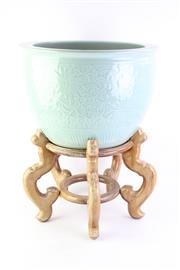 Sale 8823 - Lot 56 - Celadon Jardiniere on Stand (H 28cm Dia 43cm, H of Stand 29cm)