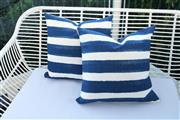 Sale 8858H - Lot 4 - Pair of Outdoor Indigo and White Stripe Cushions, H 50 x W 50 cm, new -