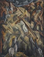 Sale 8916 - Lot 511 - Desiderius Orban (1884 - 1986) - Untitled, 1950 (The Twisting Road to Golgotha) 62 x 48 cm