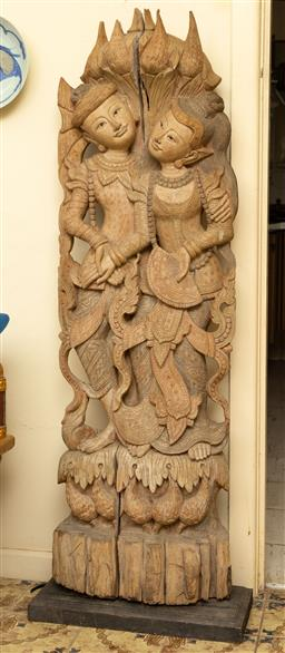 Sale 9164H - Lot 4 - A fine mid 20th century Thai carved teak panel presenting lovers and doves, Height 146cm x Width 48cm