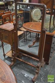 Sale 8317 - Lot 1057 - George IV Mahogany Cheval Mirror with turned stretcher & splayed legs (missing original screws)