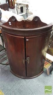 Sale 8375 - Lot 1023 - Georgian Oak Bow-Front Corner Cupboard (Key in Office)