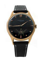 Sale 8406A - Lot 68 - Vintage large mens Girard Perregaux wristwatch, 2 tone black dial, 37.5 mm, Cal 40, with Masonic painted dial, fully restored