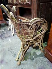 Sale 8653 - Lot 1057 - Pair of Victorian Cast Iron bench Seat Ends and another, in blackberry pattern, probably by Falkirk Foundry, Scotland