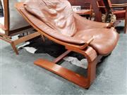 Sale 8684 - Lot 1049 - Bent Ply Lounge Chair with Leather Upholstery