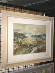 Sale 8776 - Lot 2056 - Linda Rees - Country Valley watercolour, 45 x 61cm (frame), signed -