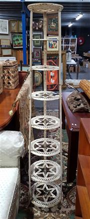 Sale 8826 - Lot 1022 - Cast Iron Seven Tier Pot Stand (H: 159.5 Diameter to Bottom: 40cm)
