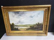 Sale 8958 - Lot 2063 - Peter Schimmell  A Belgian Countryside c1800 oil on board, 50 x 70 cm (frame), signed verso