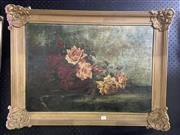 Sale 8978 - Lot 2011 - Artist Unknown (Early C20th) Roses oil on canvas (AF)  58 x 78cm (frame), intialled A.W.B lower left -