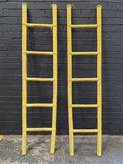 Sale 8984 - Lot 1094 - Pair of Painted Bamboo Ladders (H:202 x W:45cm)