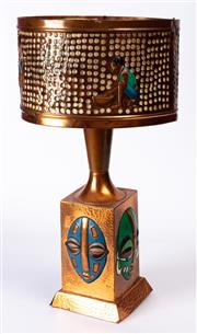 Sale 8994H - Lot 6 - Mid century copper African themed lamp - (needs re-wiring) height 61.5cm