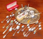 Sale 9058H - Lot 16 - A group of mainly EPNS spoons including royal souvenier, plus sundry utensils, cake slice, pickle fork etc