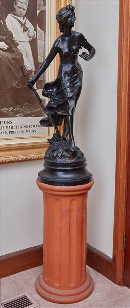 Sale 9103M - Lot 426 - A cast figure of a lady on terracotta plinth Height of plinth 61cm, Figure 83cm