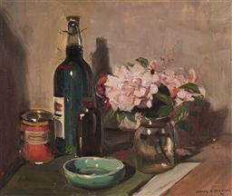 Sale 9133 - Lot 539 - James Ranalph Jackson (1882 - 1975) Still Life with Bottles & Flowers, 1959 oil on canvas laid on board 37 x 44.5 cm (frame: 54 x 62...