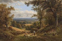 Sale 9195 - Lot 548 - ALFRED AUGUSTUS GLENDENNING I (C1840 - C1910) - Harvest Time, Surrey 1874 60 x 90 cm (frame: 85 x 116 x 5 cm)