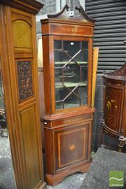 Sale 8335 - Lot 1015 - Late Victorian Inlaid Mahogany Corner Cabinet with Astragal Door and Paterae Door Below