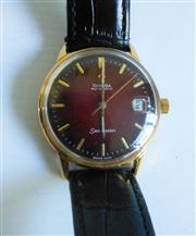 Sale 8362A - Lot 84 - A fine vintage Omega Seamaster dark red dial mens wristwatch, automatic movement, gold filled case, fully restored, 35 mm