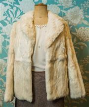 Sale 8420A - Lot 14 - A vintage cream coney fur jacket, size: S/M, condition: excellent, featuring pink coral lining