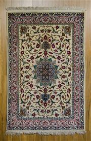 Sale 8559C - Lot 51 - Vintage Persian Isfahan Silk Inlay 200cm x 127cm