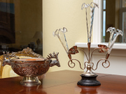 Sale 8677B - Lot 551 - A Victorian style three branch epergne silver plate with clear glass trumpets, together with a plated bowl with deer head handles , ...