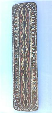 Sale 8772A - Lot 93 - A PNG Papua New Guinea Sepik River War Shield.Carved From solid Piece Timber.Upper Sepik Region .General Wear.Marks . Size 197cm H x...