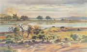 Sale 8821 - Lot 596 - Clive Stoward (1909 - 1969) - Stubble Fire beyond the Murray 56.5 x 94.5cm