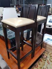 Sale 8826 - Lot 1095 - Set of Three Modern Timber Bar Stools