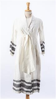 Sale 8891F - Lot 87 - An Eka white linen tunic dress with dark grey stripes to sleeves and hem, handmade in India, approx size medium