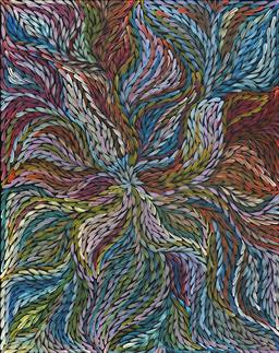 Sale 9042A - Lot 5085 - Rosemary (Pitjara) Petyarre (c1965 - ) - Yam Leaf Dreaming 95 x 120 cm (stretched and ready to hang)