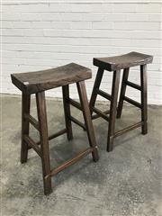 Sale 9059 - Lot 1041 - Pair of Elm Oriental Bar Stools (H:75.5 x W:50 x D:40.5cm)