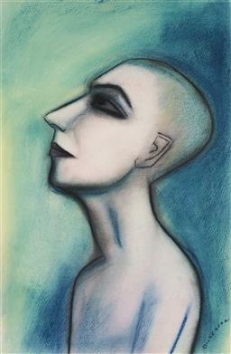 Sale 9133 - Lot 535 - Robert Dickerson (1924 - 2015) Portrait of Young Man pastel and charcoal 55.5 x 36.5 cm (frame: 76 x 56 x 3 cm) signed lower right