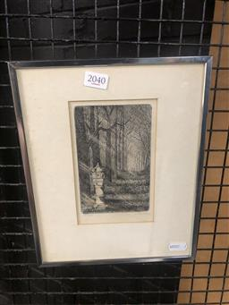 Sale 9152 - Lot 2040 - Peter Hickey Japanese Stone Lantern, etching, ed. 8/20, frame: 27 x 22 cm, signed lower right -