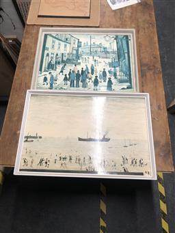 Sale 9155 - Lot 2072 - Pair of vintage L S Lowry prints, 48 x 72cm ; 50 x 65cm -