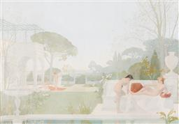 Sale 9255H - Lot 48 - Edme Couty, French Neo-Classical School, 1852-1931 - Classical Landscape with Nudes 42x59cm