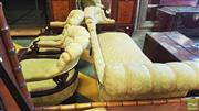 Sale 8402 - Lot 1078 - Edwardian Carved Chaise Lounge and Two Tub Chairs in Green Buttoned Upholstery