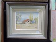 Sale 8561 - Lot 2022 - R. Slater, Country Farm, oil painting, signed