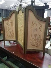 Sale 8601 - Lot 1089 - Oriental Three Panel Screen With Gilt Frame and Flower Motif