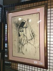 Sale 8776 - Lot 2055 - Joel Bergner - Figure by Window lithograph ed32/150, 41 x 53cm (frame) signed -