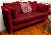 Sale 8882H - Lot 93 - A Ruby Red two seater lounge with knit effect upholstery , Height 75cm , Depth 89cm