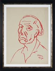Sale 8908A - Lot 5005 - Desiderius Orban (1884 - 1986) - Portrait of a Frowning Man, 1958 61 x 46.5 cm