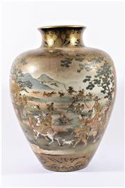 Sale 9010 - Lot 1 - Impressive Satsuma Vase Decorated Beautifully With Warriors And a River Scene, Marked to Base, Unzan (H46.5cm)