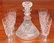 Sale 9058H - Lot 12 - A cut glass ships decanter of good quality (minor knick to stopper) Height 24cm together with  six bohemian lead crystal champagne g...