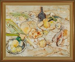 Sale 9097H - Lot 73 - William Boissevain, ( United States, Europe, Australia, 1927-.) - Still LIfe of Pears Leeks & Fish Signed lower right, dated 77