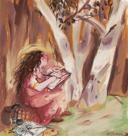 Sale 9133 - Lot 521 - Wendy Sharpe (1960 - ) Mary Drawing A Tree oil on canvas 65 x 59.5 cm (frame: 72 x 67 x 3 cm) signed lower right