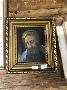Sale 9152 - Lot 2057G - Alfred Lakos Study of Rabbi oil on canvas mounted on board, 13.5 x 11.5cm (frame: 22 x 20cm) -