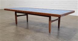 Sale 9191 - Lot 1098 - Vintage sky blue tile top coffee table (h:37 x w:161 x d:73cm)